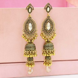 E-5547 Ethnic Women's Silver Gold Jhumka Indian Earrings Vintage Rhinestone Exaggerated Lantern Tassel Palace Earring Jewelry