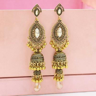 E-5547 Ethnic Women's Silver Gold Jhumka Indian Earrings Vintage Rhinestone Exaggerated Lantern Tassel Palace Earring Jewelry
