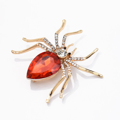 P-0445 7 Color Alloy Gold And Silver Rhinestone Spider In Stone Pin Clothing Fashion Accessories