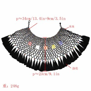 N-7319 Bohemian ethnic five-color tassel pearl shawl collar necklace color beaded ladies necklace