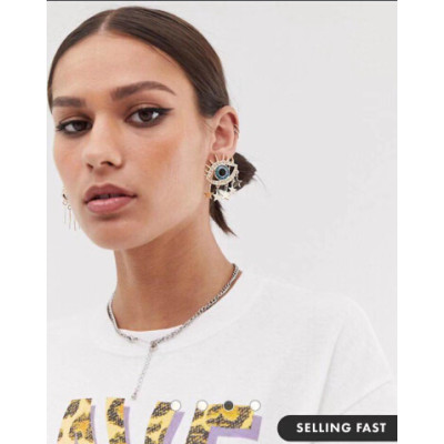 E-5532 2019 Fashion Evil Eye Big Statement Earring Punk Exaggerated Dripping Oil Evil Eye Drop Earring