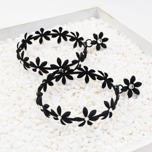 E-5549 Big Flowers Hoop Earrings Rhinestone Styling Jewelry Earrings