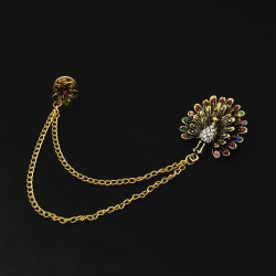 P-0446 Fashion brooch brooch Diamond animal peacock open crystal female chain tassel brooch