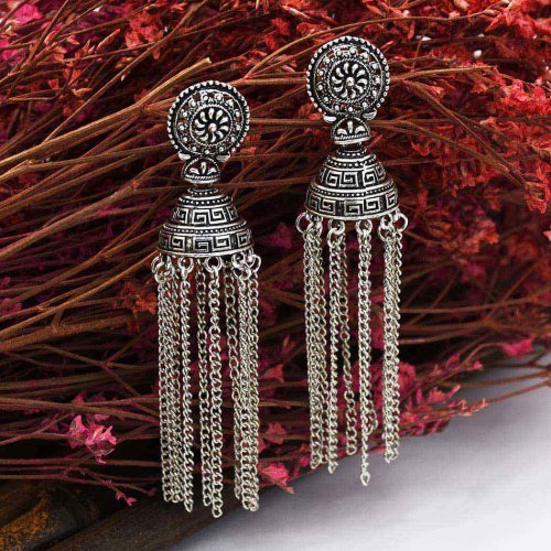 E-5551 Indian Gypsy Jewelry Bohemia Ethnic Long Tassel Retro Big Bells Drop Earrings For Women