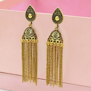 E-5551 Indian Gypsy Jewelry Bohemia Ethnic Long Tassel Retro Big Bells Drop Earrings For Women