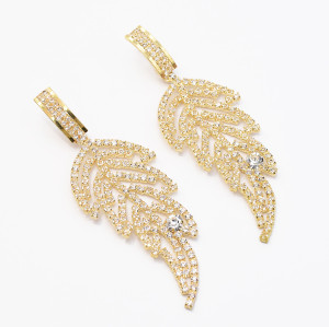 E-5552 Women's leaf-Shaped Crystal Tassel Chandelier Earrings Wedding Party Nightclub Diamond Women's Earrings