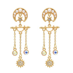 E-5553 Moon Star Earrings Pearl Rhinestone Long Tassel Earrings Korean Drop Dangle Earrings