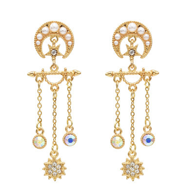 E-5553 Moon Star Earrings Pearl Rhinestone Long Tassel Earrings Korean Drop Dangle Earrings
