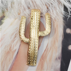 F-0703 Creative Women Girls Metal Alloy Hair Clip Cactus Shaped Gold Clamps Hairpin Hair Accessories