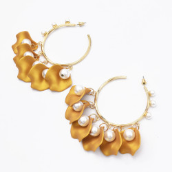 E-5556 Rose Petal Hoop Earrings Simple Open Love Earrings for Women Gift