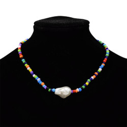 N-7321 Beaded fashion colorful boho necklace beads jade daily elegant ladies necklace
