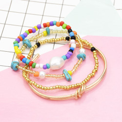 B-1000 4 pieces / set of alloy ring bracelet beaded jade fashion boho jewelry For Women