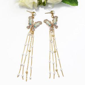 E-5558 Butterfly Earrings Pearl Rhinestone Long Tassel Earrings Korean Girl Earring