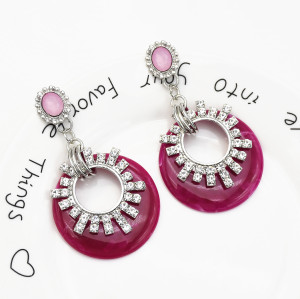 E-5559 Acrylic Hoop Earrings European Rhinestone Flower Drop Dangle Earrings Women Prom Earring