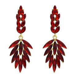 E-5560 4 Colors Leaf Shape Crystal Earrings for Women Bridal Rhinestone Long Drop Earring Wedding Jewelry Gift