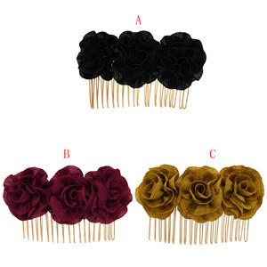 F-0705 Black Red Rose Flower Hair Combs Wedding Bridal Fashion Jewelry Women Prom Headpiece