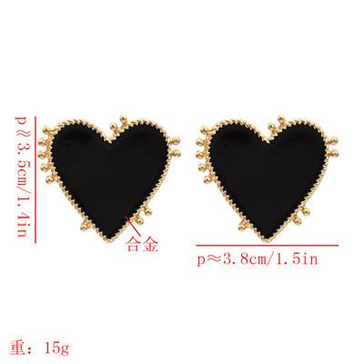 E-5562  Love Heart Stud Earring Ins Style Enamel Simple Earring for Women Girl