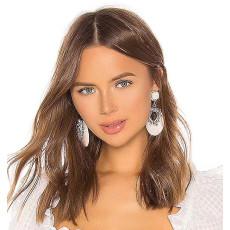 E-5559 Acrylic Hoop Earrings European Rhinestone Flower Drop Dangle Earrings Women Prom Earring