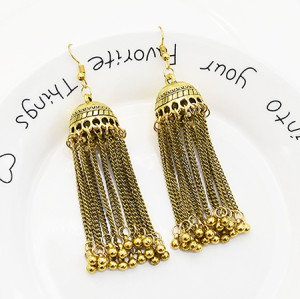 E-5563 Indian Earrings For Women Gypsy Bohemian National Long Tassel Earrings Vintage Bell Earrings