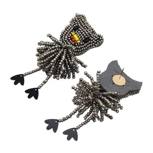 E-5564 Statement Beaded Bear Drop Earrings Animal Dangle Earrings For Women Jewelry