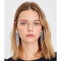 E-5565 4 Color Long Rhinestone Tassel Earrings Statement Bling Dangle Earring Simple And Elegant For Any Occasion