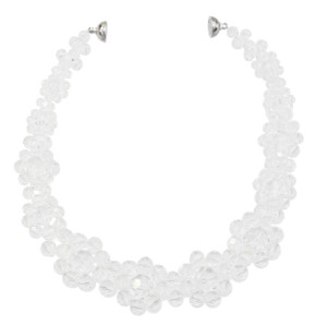 N-7323 Handmade Flower Shape Clear Acrylic Beaded Statement Choker Necklaces for Women Wedding Party Jewelry