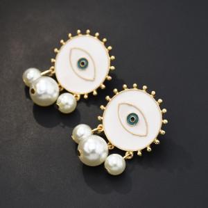 E-5566 Big All-Seeing Eye Stud Earrings Jewelry Black White Enamel Eye pearl Earrings Statement Jewelry Fashion Women's Earrings