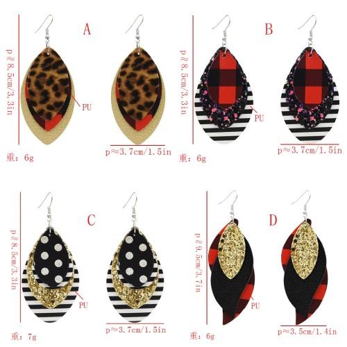 E-5570 Leather Earrings Lightweight Faux Leather Leaf Dangle Earrings Teardrop Earrings
