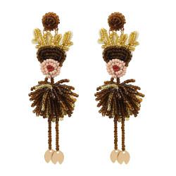 E-5571 Brown Bead Drop Eyecatching Elk Christmas Drop Earrings Statement Jewelry for Ladies Girls Women