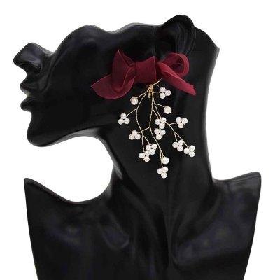 E-5573 Branch Drop Dangle Earrings Handmade Pearl Earring Lace Bowknot Lovely Girl Earrings