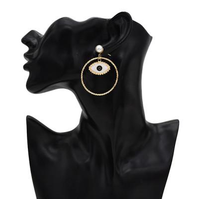 E-5576 Fashion Big Eyes 4 Style Pearl Earrings Love Big Circle Metal Earrings Women Jewelry Gift