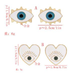 E-5574 Enamel Eye Heart Stud Earrings Gold Plated Alloy Girls Popular Earrings