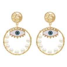E-5572 Fashion Big Circle Gold Metal Eye Drop Earrings for Women Pearl Beaded Statement Earring Party Jewelry