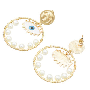 E-5572 Fashion Big Circle Gold Metal Eye Drop Earrings for Women Pearl Beaded Statement Earring Party Jewelry