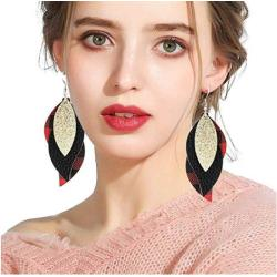 E-5570 Leather Earrings Lightweight Faux Leather Leaf Dangle Earrings Teardrop Earrings