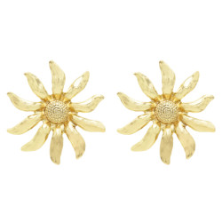 E-5577 Trendy Big Sunflower Earrings For Women Gold Silver Metal Stud Earring Wedding Party Charm Jewelry
