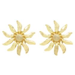 E-5577 Trendy Big Sunflower Earrings For Women Gold Silver Metal Stud Earring Wedding Party Charm Jewelry