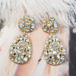 E-5580 New Fashion Shiny Rhinestone Drop Earrings For Women  Crystal Elegant Statement Earrings