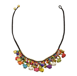 N-7325 Colorful Elephant Shape Gravel Beads Love Bell Pendant Necklace