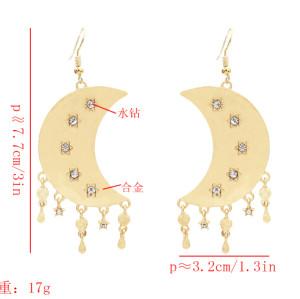 E-5585 Moon and Star Earrings Simple Drop Dangle Earrings Silver Gold Women Girl Earrings