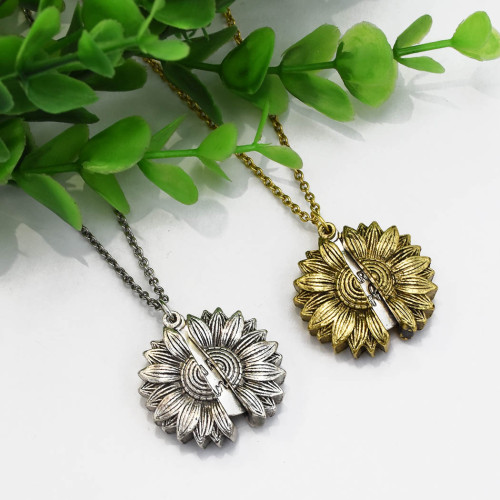 N-7326 You are My Sunshine Engraved Necklace for Mom Sunflower Locket Necklace