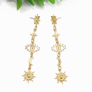 E-5584 Eyes of the Golden Sun Fashionably Dazzling Bright Dazzling Wedding Jewelry