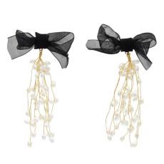 E-5588 Elegant Black Bowknot Long Tassel Pearl Earring Bridal Wedding Charm Drop Earrings Party Jewelry