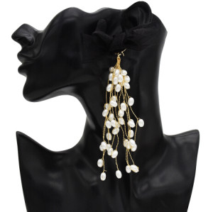 E-5588 Elegant Black Bowknot Long Tassel Pearl Earring Bridal Wedding Charm Drop Earrings Party Jewelry