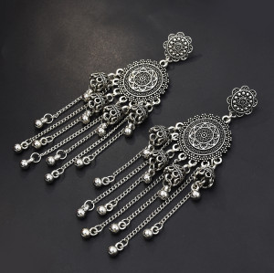 E-5589 2 Color Fashion Dignified Round Flower Small Bell Wedding Jewelry