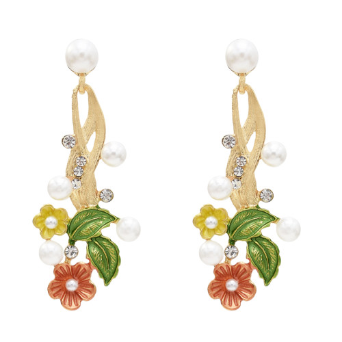 E-5590 Four color flower earrings pearl earrings suitable for ladies party daily jewelry jewelry gifts