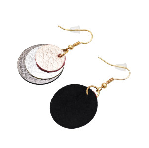 E-5591 Genuine Leather Earring 3 Layers Round Drop Petal Dangle Statement Earring Lightweight Earring