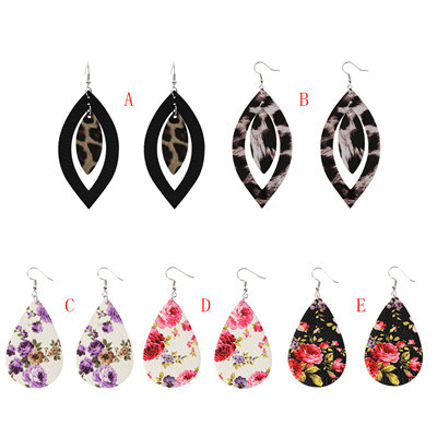 E-5592 Leather Small Floral Water Drop Dangle Statement Earring for Woman