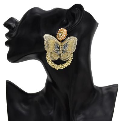 E-5594 4 Color Butterfly Earrings Rhinestone Beads Fashion Hoop Earrings Jewelry for Woman