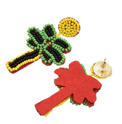 E-5595 Handmade Birds Tree Shape Drop Earrings for Women Resin Beaded Statement Earring Bohemian Party Jewelry